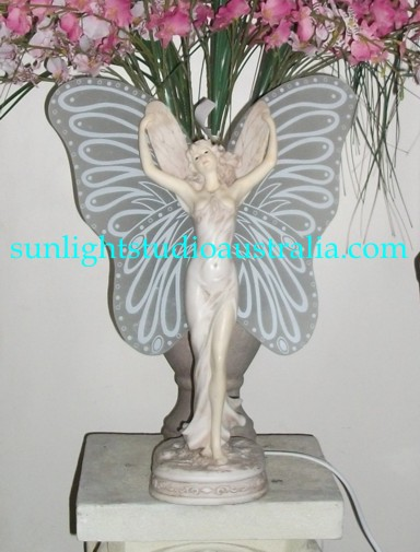 Glass Wings Fairy Lamp 32x42cm